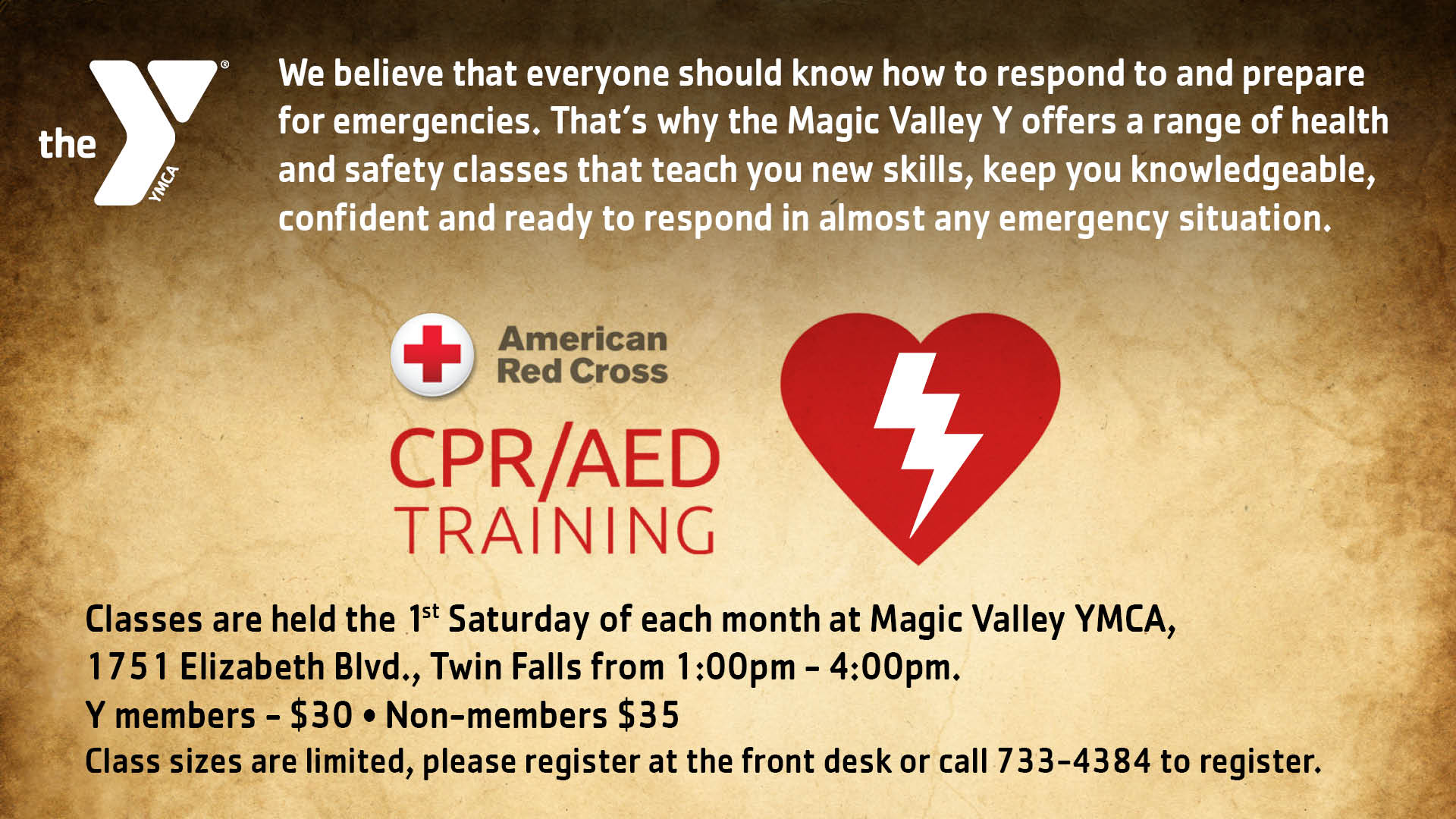 Magic valley ymca january cpraed training xflitez Image collections